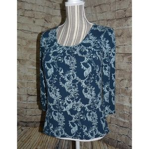 TALBOTS Blue Damask Cotton Knit Top, sz M